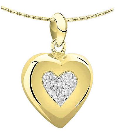 Achsbügel Herz mit Diamant – Gold Asche Schmuck