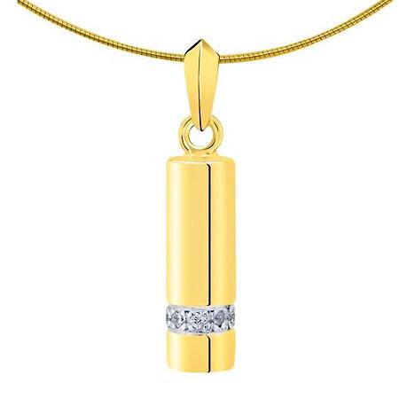 Aschenanhänger Rohr mit 9 Diamanten – Gold Asche Schmuck