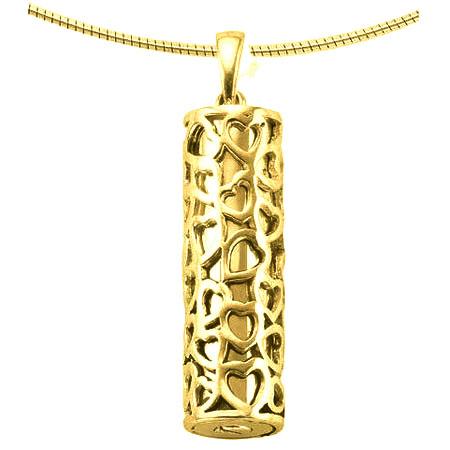 Aschenanhänger Rohr mit Herzen – Gold Asche Schmuck