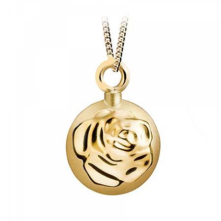 Aschenanhänger Runde und Kugel mit Rose – Gold Asche Anhänger Blume