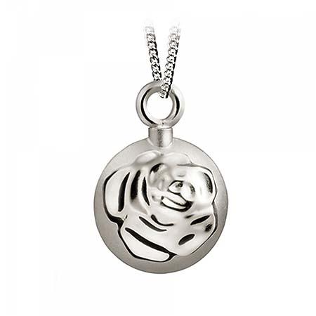 Aschenanhänger Runde und Kugel mit Rose – Silber Asche Anhänger Blume
