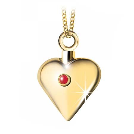 Achsbügel Herz mit Rubin Gold Asche Schmuck