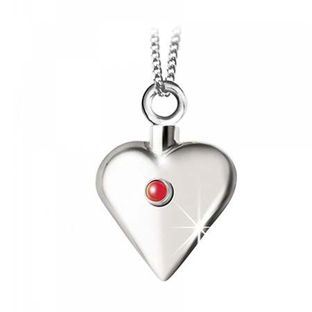 Achsbügel Herz mit Rubin Silber Asche Schmuck
