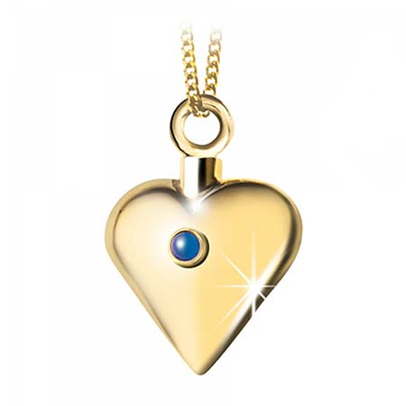 Achsbügel Herz mit Saphir Gold Asche Schmuck