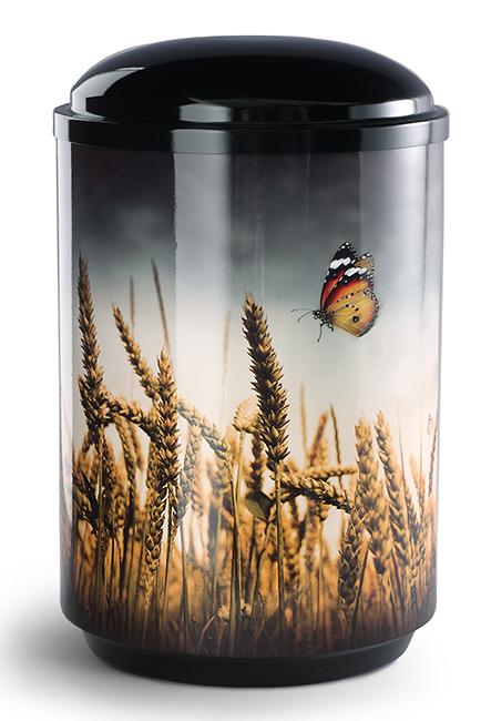 360 Graden Design Foto Urne Kornfeld mit Schmetterling (4,0 Liter) Edelstahl Urnen