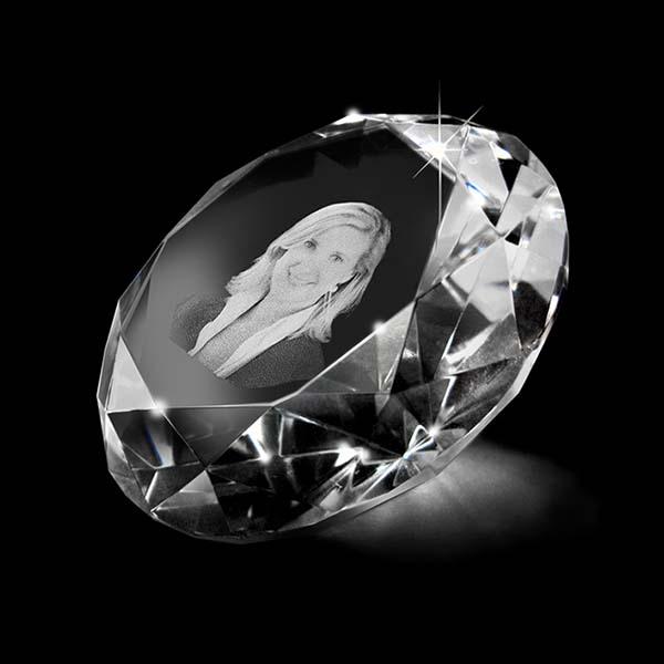 Kristallglas Diamant mit Lasergravur (8 cm) Glas Mini art Urnen