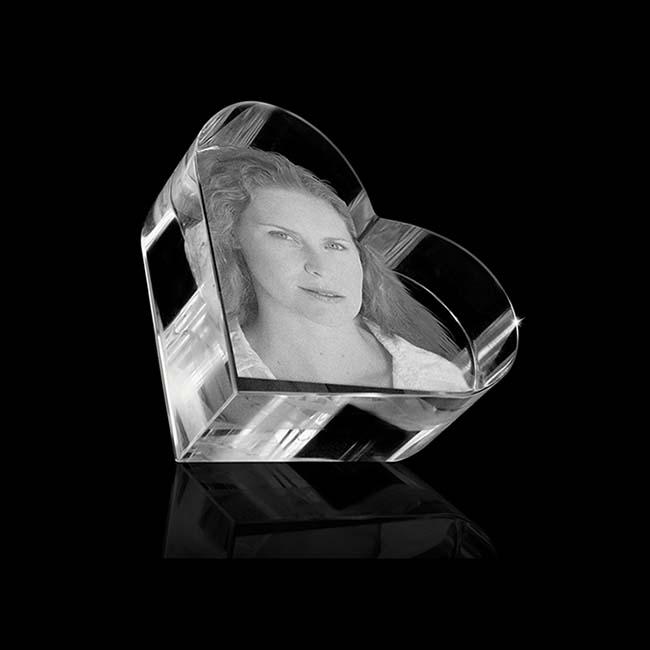 Kristallglas Herz Relikt mit Lasergravur (4,5 cm) Glas Mini art Urnen
