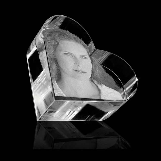 Kristallglas Herz Relikt mit Lasergravur (5,8 cm) Glas Mini art Urnen