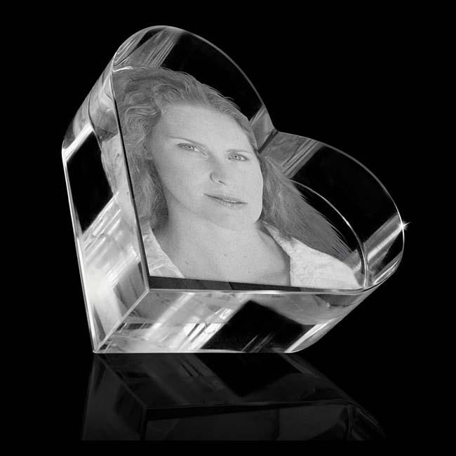 Kristallglas Herz Relikt mit Lasergravur (7 cm) Glas Mini art Urnen