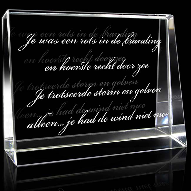 Kristallglas Landschaftsrechteck mit Lasergravur (12 cm) Glas Mini art Urnen