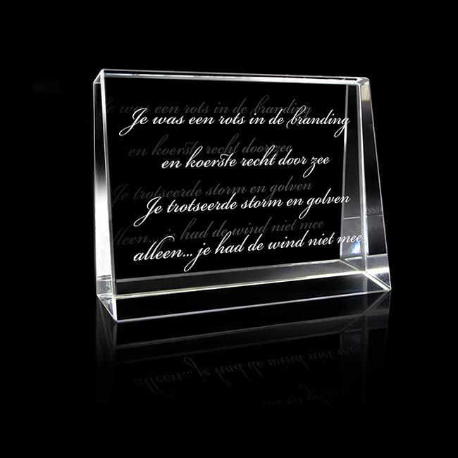 Kristallglas Landschaftsrechteck mit Lasergravur (6 cm) Glas Mini art Urnen
