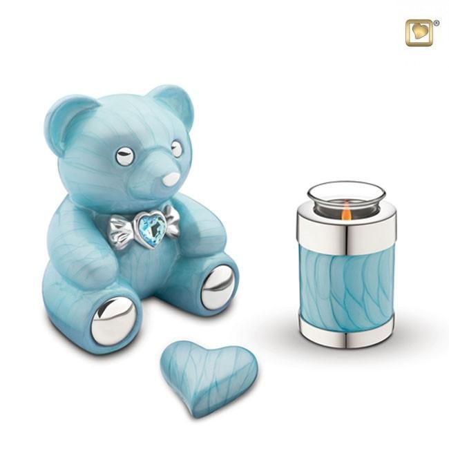 Messing Tierurne Blau Teddybeer (1,8 Liter) Bärenförmige Tierurnen