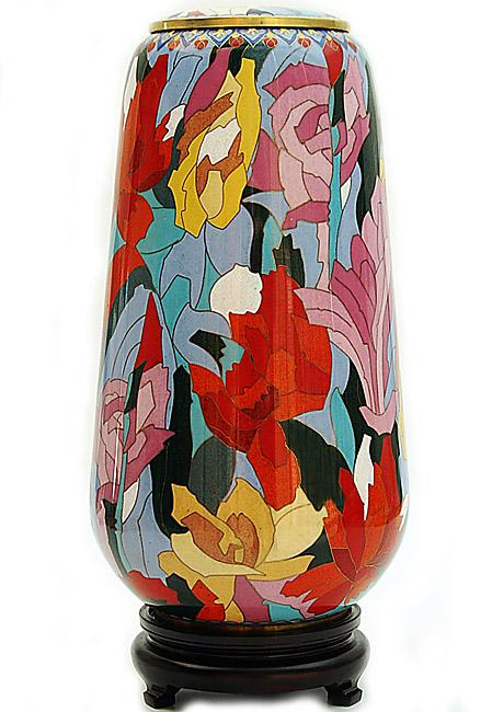Große Cloisonne Tierurne Blumenhommage (4,6 Liter) Tierurnen