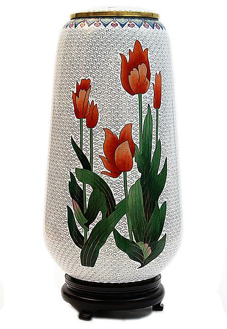Exklusive Cloisonne Urne Tulpen und Rosen (4,6 Liter) Cloisonne Urnen