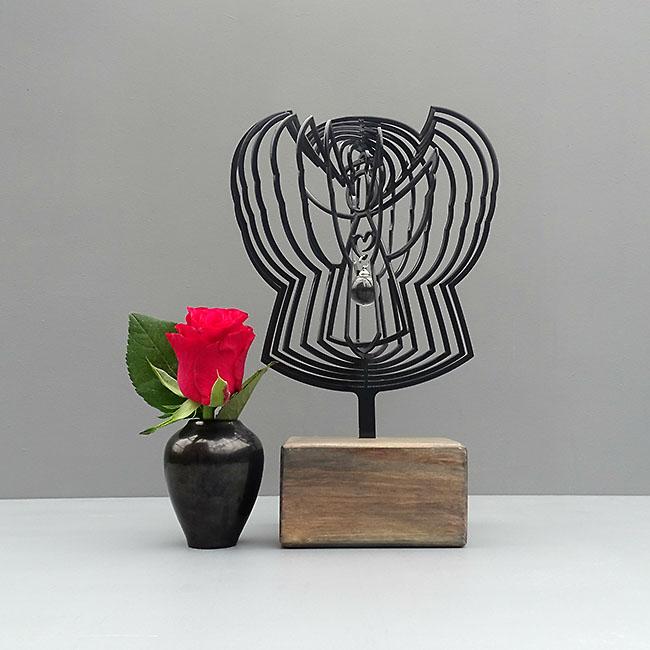 3D Mini Urne Engel mit Aschekugel und Aschenrohr Schwarz oder Weiß (0,015 Liter) Rahmenurnen
