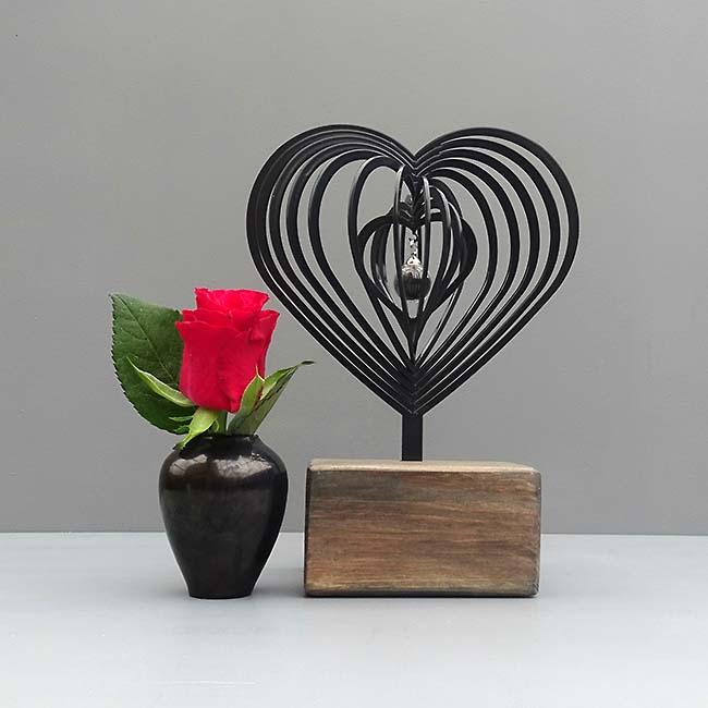3D Mini Urne Herz mit Aschekugel und Aschenrohr Schwarz oder Weiß (0,015 Liter) Rahmenurnen