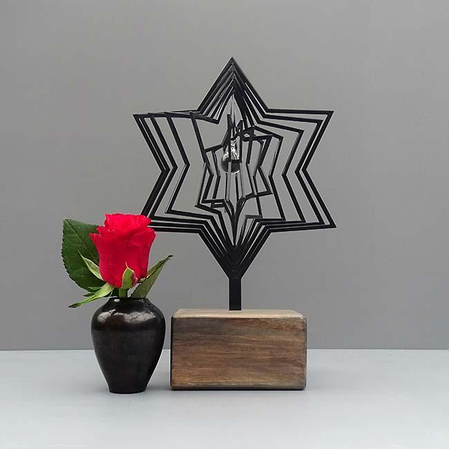 3D Mini Urne Stern mit Aschekugel und Aschenrohr Schwarz oder Weiß (0,015 Liter) Rahmenurnen