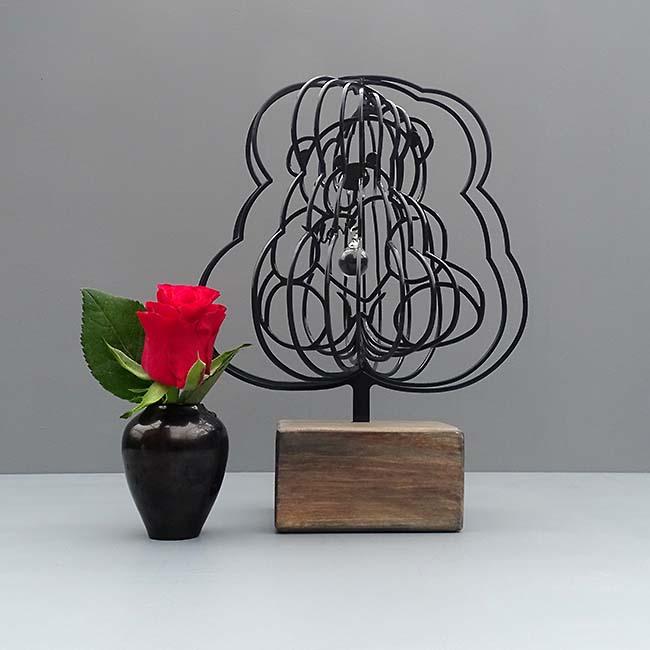 3D Mini Urne TeddyBear mit Aschekugel und Aschenrohr Schwarz oder Weiß (0,015 Liter) Rahmenurnen