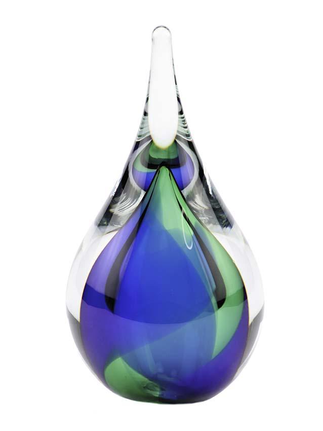 Mini 3D Kristallgläser Träne Urne Blau-Grün (0,05 Liter) Träne Urnen