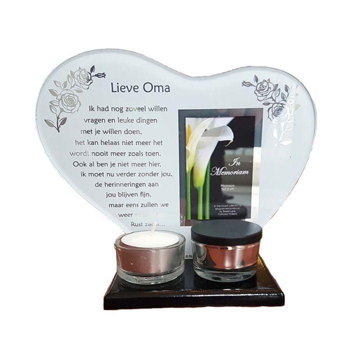 Gedenkhart mit Waxinelichthouder und Mini Urne Oma (0,015 Liter) Urnen mit Kerzenhalter