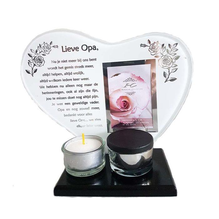 Gedenkhart mit Waxinelichthouder und Mini Urne Opa (0,015 Liter) Urnen mit Kerzenhalter