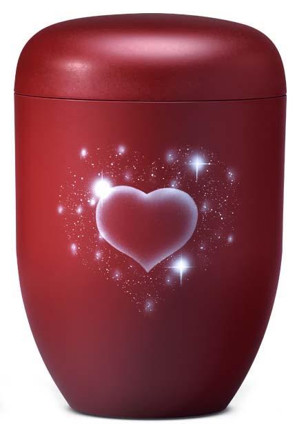Biologische Abbaubare Öko Urne Funkelndes Herz Rubin (4,0 Liter) Ökologische Urnen