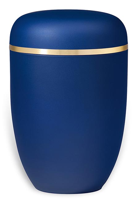 Blaue Design Urne mit Goldbesatz (4,0 Liter) Edelstahl Urnen