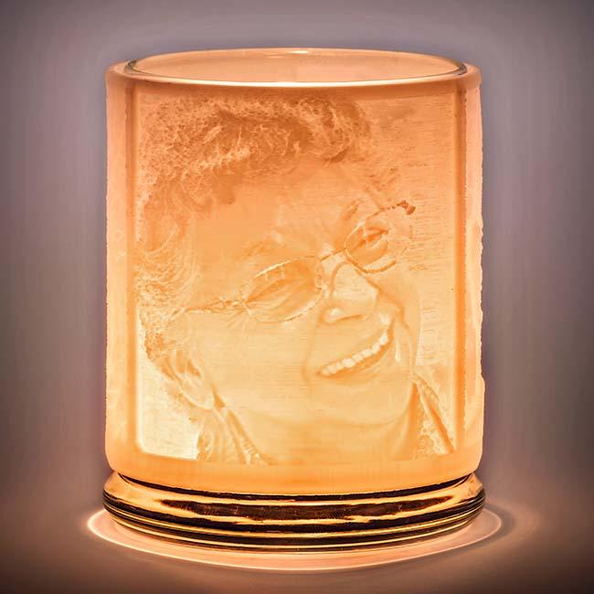 Gedenklicht mit zwei 3D-Porträten (9 cm) Öllampe