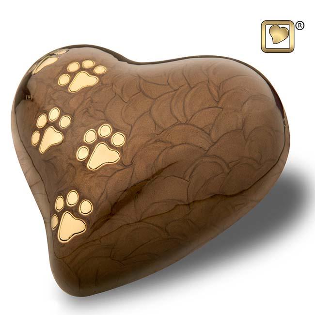 Große Herz Tierurne Braun Marmor Schatten (1,0 Liter) Herzförmige Tierurnen