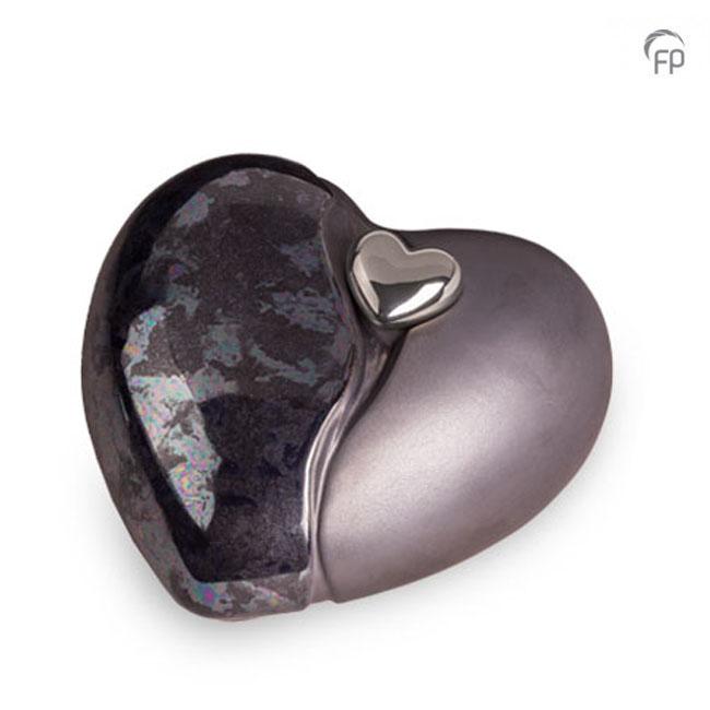 Große Keramische Herz Urne Blau Geölte (3,8 Liter) Keramik Urnen