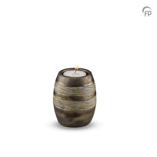 Keramische Mini Urne mit Teelicht Braun-Grau (0,1 Liter) Urnen mit Kerzenhalter