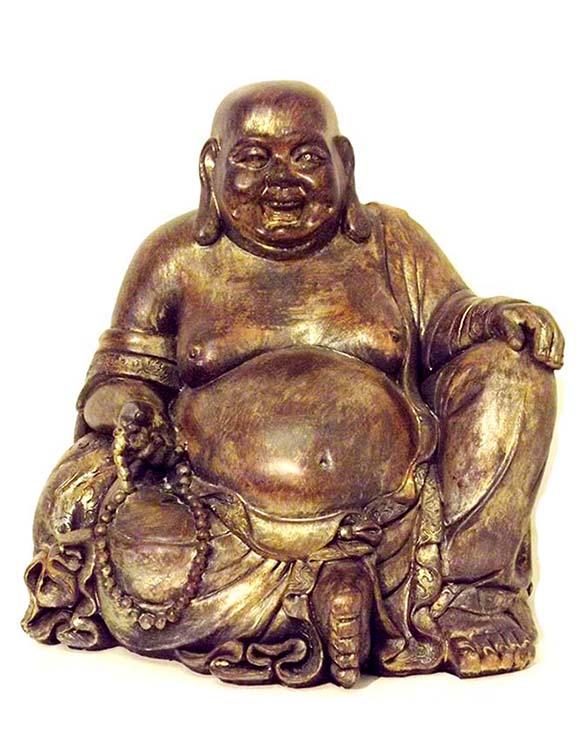 Große Bauche Buddha Urne Gold-Braun (4,5 Liter) Buddha Urnen