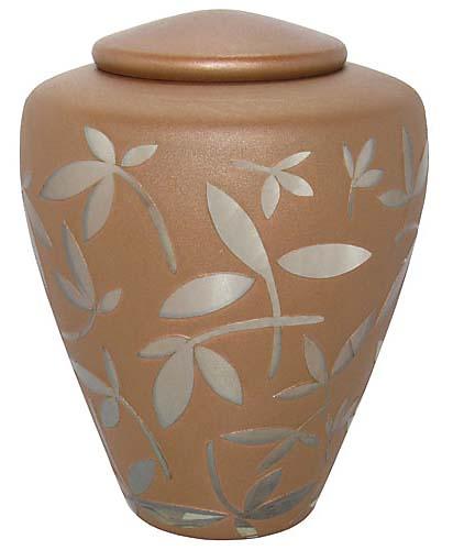 Glas Urne Karamell Silber Zierblätter (4,4 Liter) Glasfaser Urnen