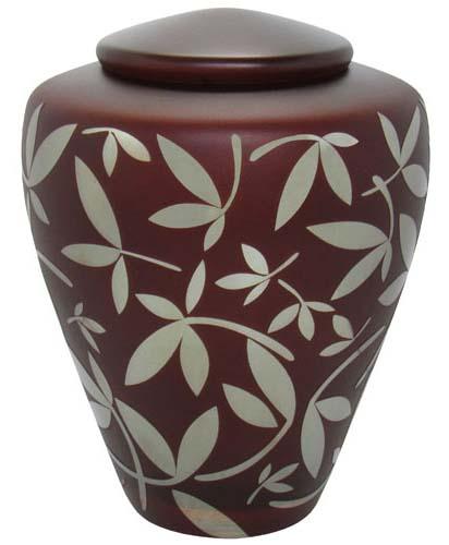 Glas Urne Schokolade Braun Silber Zierblätter (4,4 Liter) Glasfaser Urnen