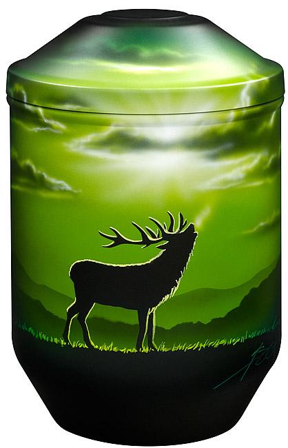 Design Urne Braying Deer (4,0 Liter) Edelstahl Urnen