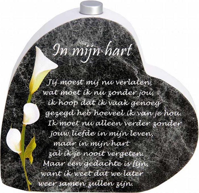 Hölzernes Gedenkherz mit Aschenrohr und Gedicht (0,015 Liter) Urnen mit Kerzenhalter