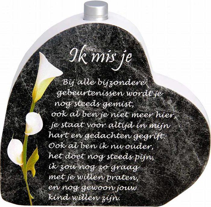 Hölzernes Gedenkherz mit Aschenrohr und Gedicht Vermisse Dich (0,015 Liter) Urnen mit Kerzenhalter