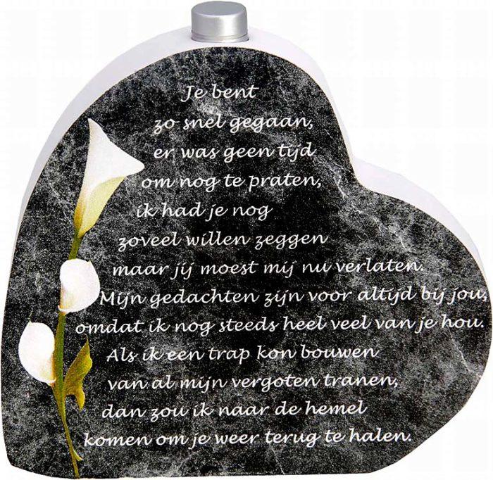 Hölzernes Gedenkherz mit Aschenrohr und Gedicht Schnell gegangen (0,015 Liter) Urnen mit Kerzenhalter