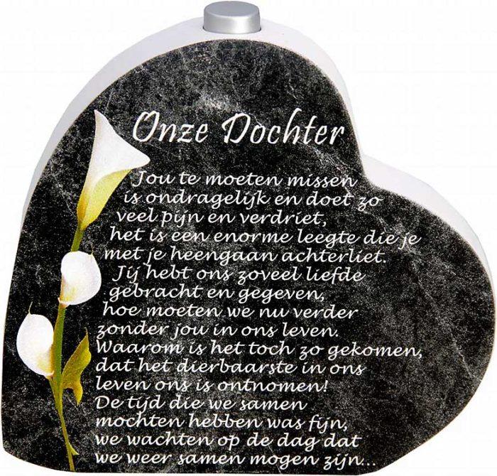 Hölzernes Gedenkherz mit Aschenrohr und Gedicht Tochter (0,015 Liter) Urnen mit Kerzenhalter
