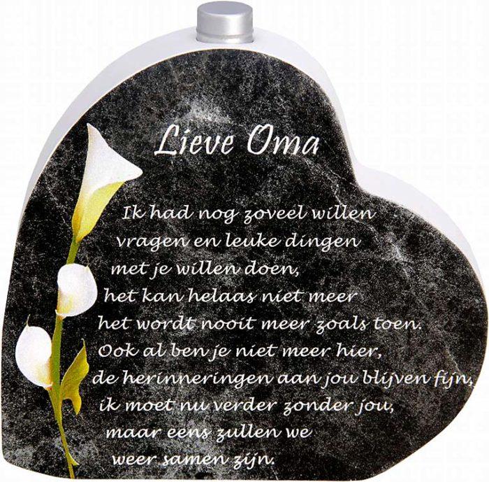 Hölzernes Gedenkherz mit Aschenrohr und Gedicht Oma (0,015 Liter) Urnen mit Kerzenhalter