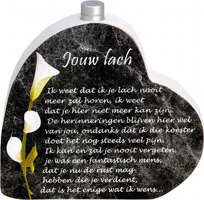 Hölzernes Gedenkherz mit Aschenrohr und Gedicht Lachen (0,015 Liter) Urnen mit Kerzenhalter