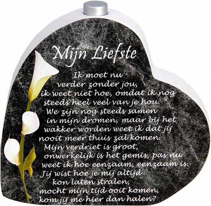 Hölzernes Gedenkherz mit Aschenrohr und Gedicht Sehr Geehrter (0,015 Liter) Urnen mit Kerzenhalter