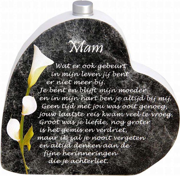 Hölzernes Gedenkherz mit Aschenrohr und Gedicht Mutti (0,015 Liter) Urnen mit Kerzenhalter