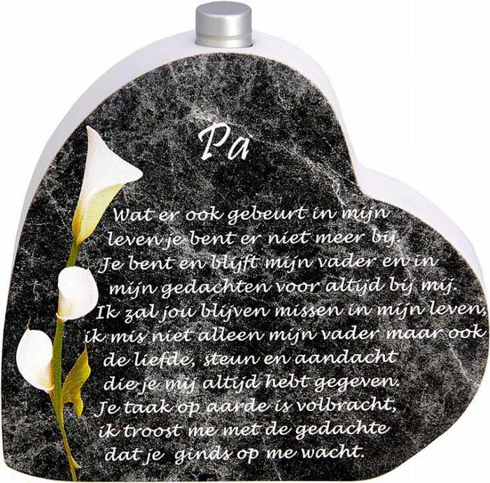 Hölzernes Gedenkherz mit Aschenrohr und Gedicht Papa (0,015 Liter) Urnen mit Kerzenhalter