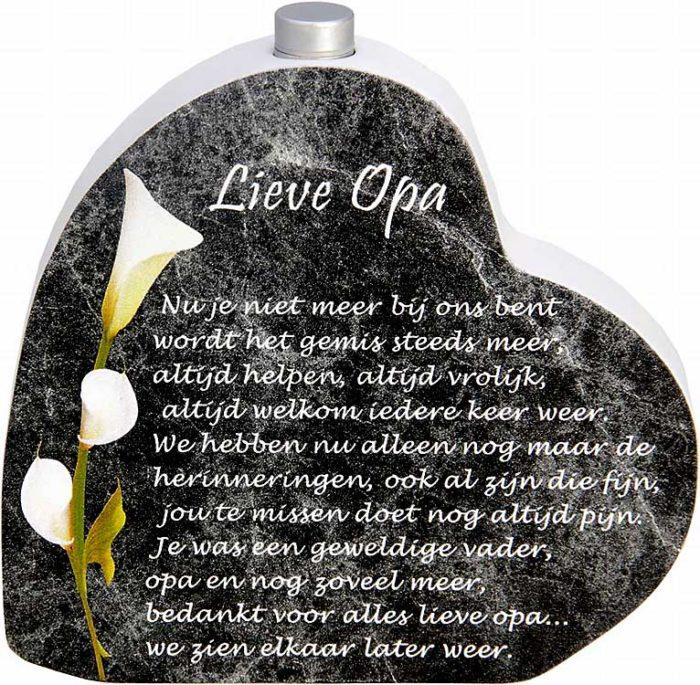 Hölzernes Gedenkherz mit Aschenrohr und Gedicht Opa (0,015 Liter) Urnen mit Kerzenhalter