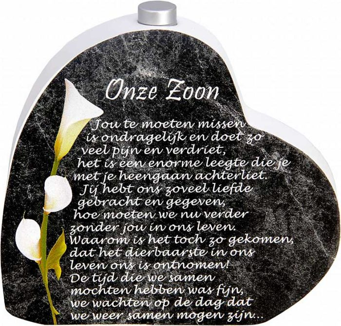 Hölzernes Gedenkherz mit Aschenrohr und Gedicht Sohn (0,015 Liter) Urnen mit Kerzenhalter