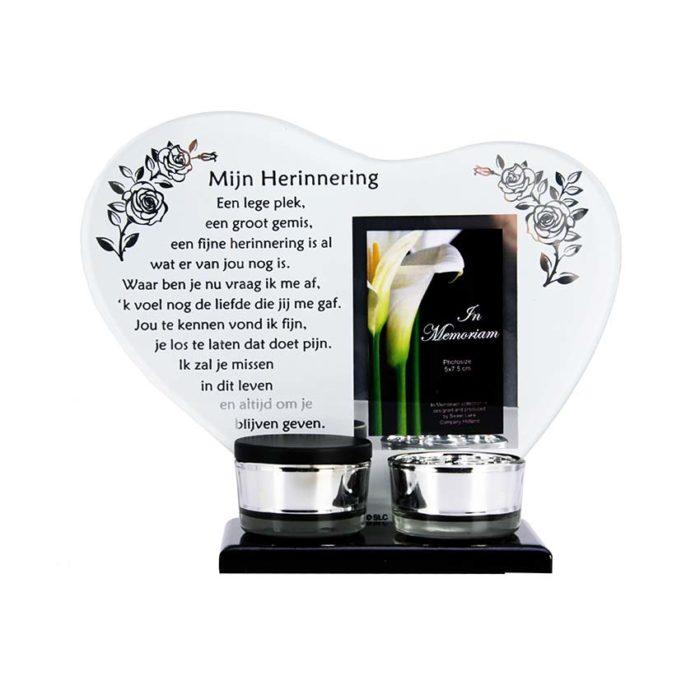 Gedenkhart mit Waxinelichthouder und Mini Urne Erinnerung (0,015 Liter) Urnen mit Kerzenhalter
