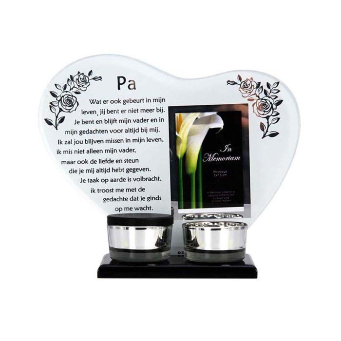 Gedenkhart mit Waxinelichthouder und Mini Urne Vater (0,015 Liter) Urnen mit Kerzenhalter