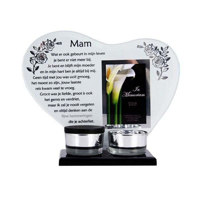 Gedenkhart mit Waxinelichthouder und Mini Urne Mutter (0,015 Liter) Urnen mit Kerzenhalter