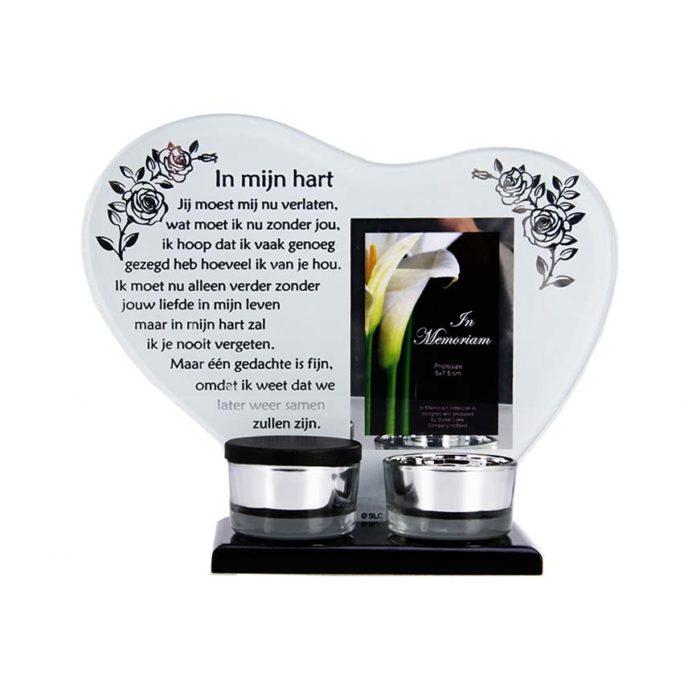 Gedenkhart mit Waxinelichthouder und Mini Urne (0,015 Liter) Urnen mit Kerzenhalter